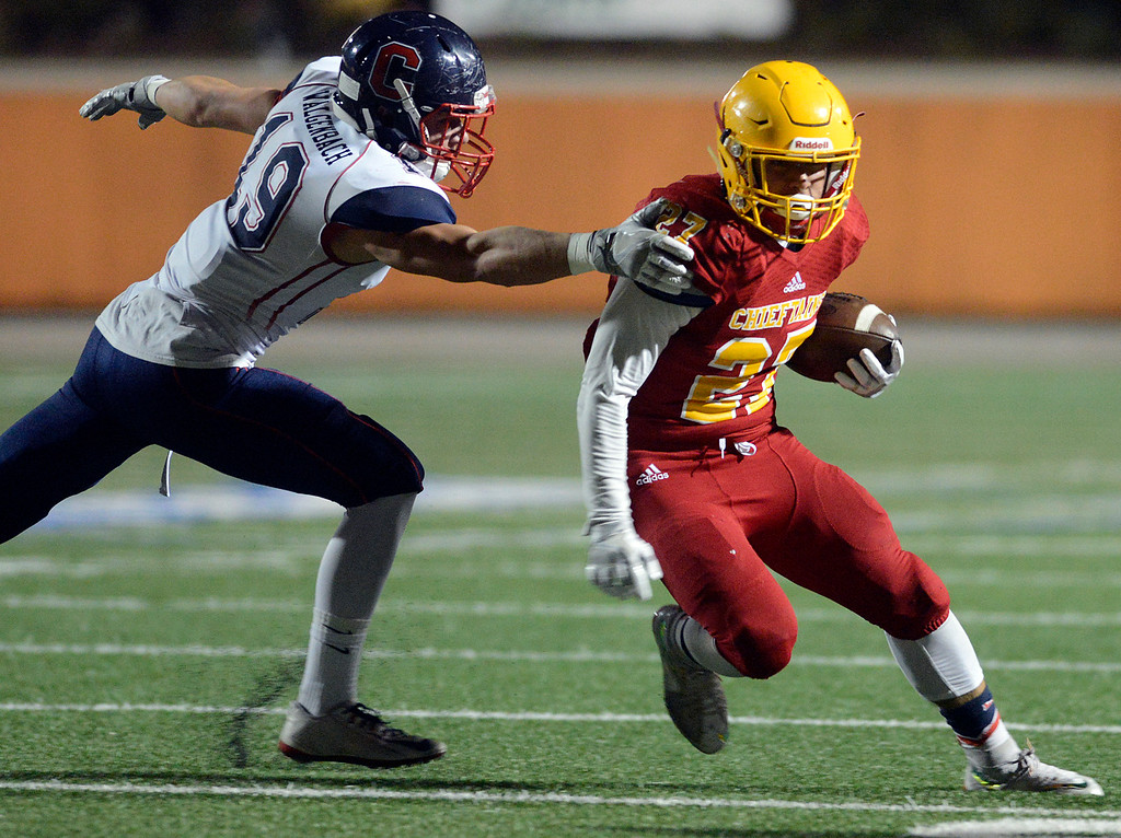 . Palma\'s Emilio Martinez runs the ball against Campolindo during the Northern California Division 4 AA championship football game at Rabobank Stadium in Salinas on Friday December 9, 2016. (David Royal - Monterey Herald)