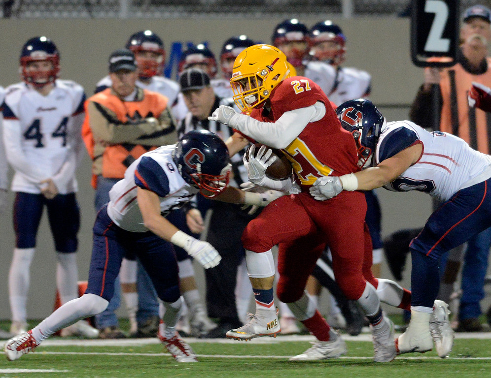 . Palma\'s Emilio Martinez runs he ball against Campolindo during the Northern California Division 4 AA championship football game at Rabobank Stadium in Salinas on Friday December 9, 2016. (David Royal - Monterey Herald)