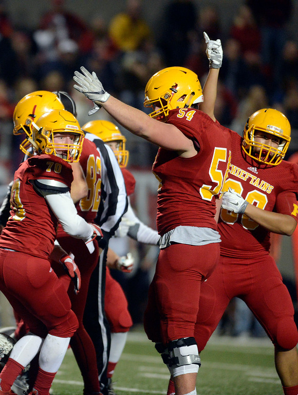. Palma players react after recovering a dropped punt against Campolindo during the Northern California Division 4 AA championship football game at Rabobank Stadium in Salinas on Friday December 9, 2016. (David Royal - Monterey Herald)