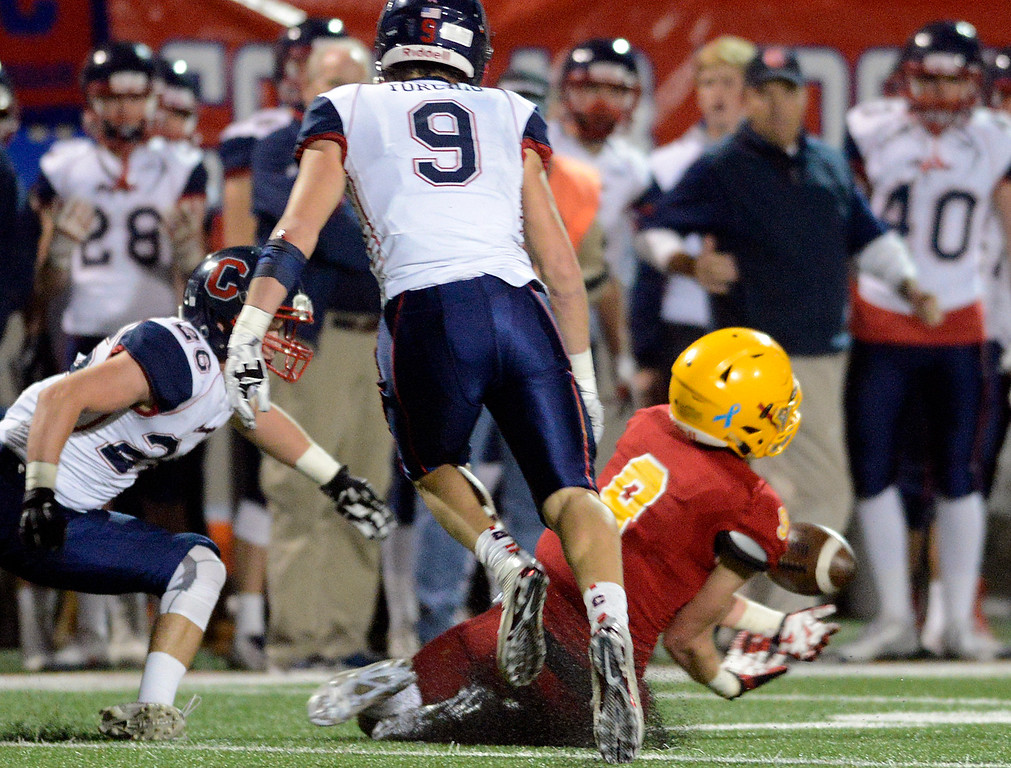 . Palma\'s Tristan Wahl tries to reel in a pass against Campolindo during the Northern California Division 4 AA championship football game at Rabobank Stadium in Salinas on Friday December 9, 2016. (David Royal - Monterey Herald)