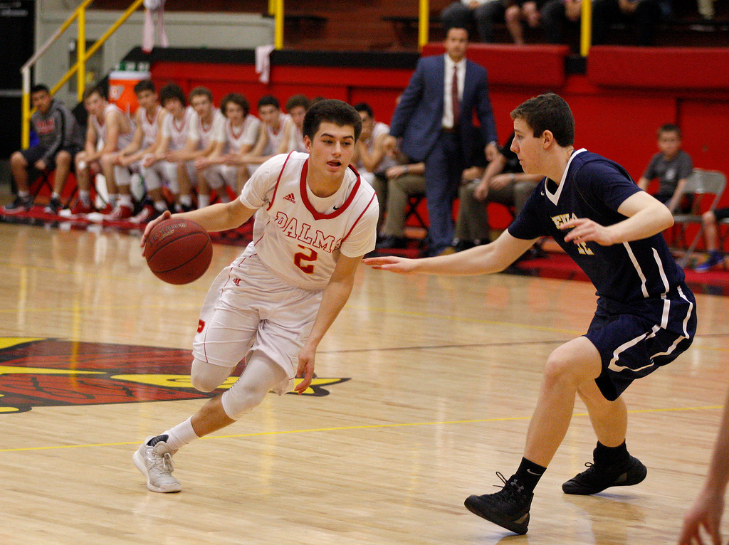 . Palma\'s Sacramento Figueroa (2) drives against Menlo School\'s Thomas Brown (12) during their second round game of the CIF State Boys Basketball Championships in Salinas on March 11, 2017.  (Vern Fihser - Monterey Herald)