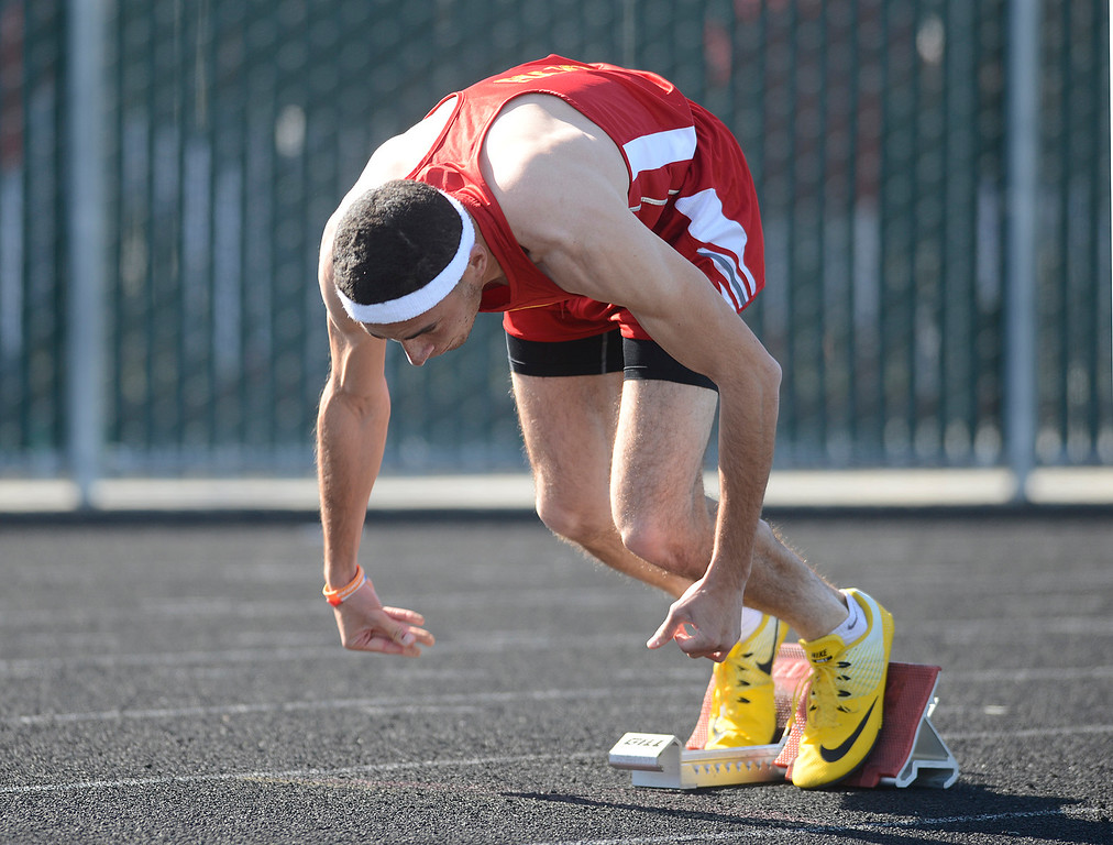 . Palma\'s Isaiah Blanco takes off at the start on his way to a win the boys 400 meter race during a track meet North Monterey County at Palma High School in Salinas on Thursday April 13, 2017. Blanco\'s time was 53.56. (David Royal - Monterey Herald)