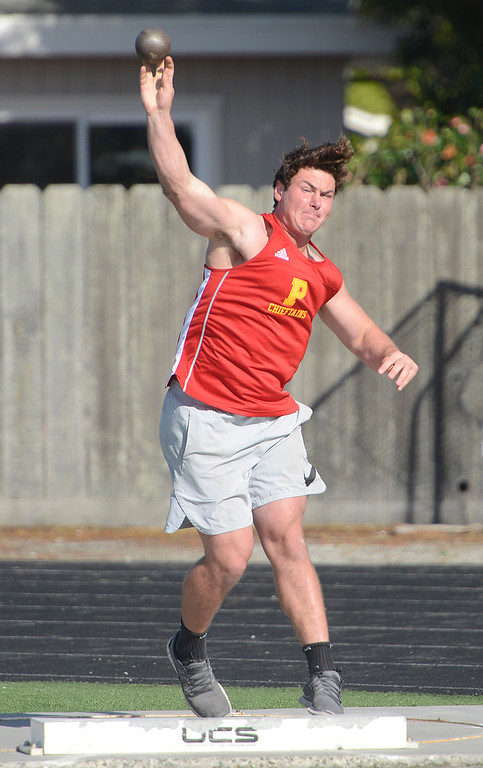 """. Palma\'s Drew Dalman competes in the shot put on his way to a win during a track meet against North Monterey County at Palma High School in Salinas on Thursday April 13, 2017. Dalman\'s winning throw was 45\'4\"""". (David Royal - Monterey Herald)"""