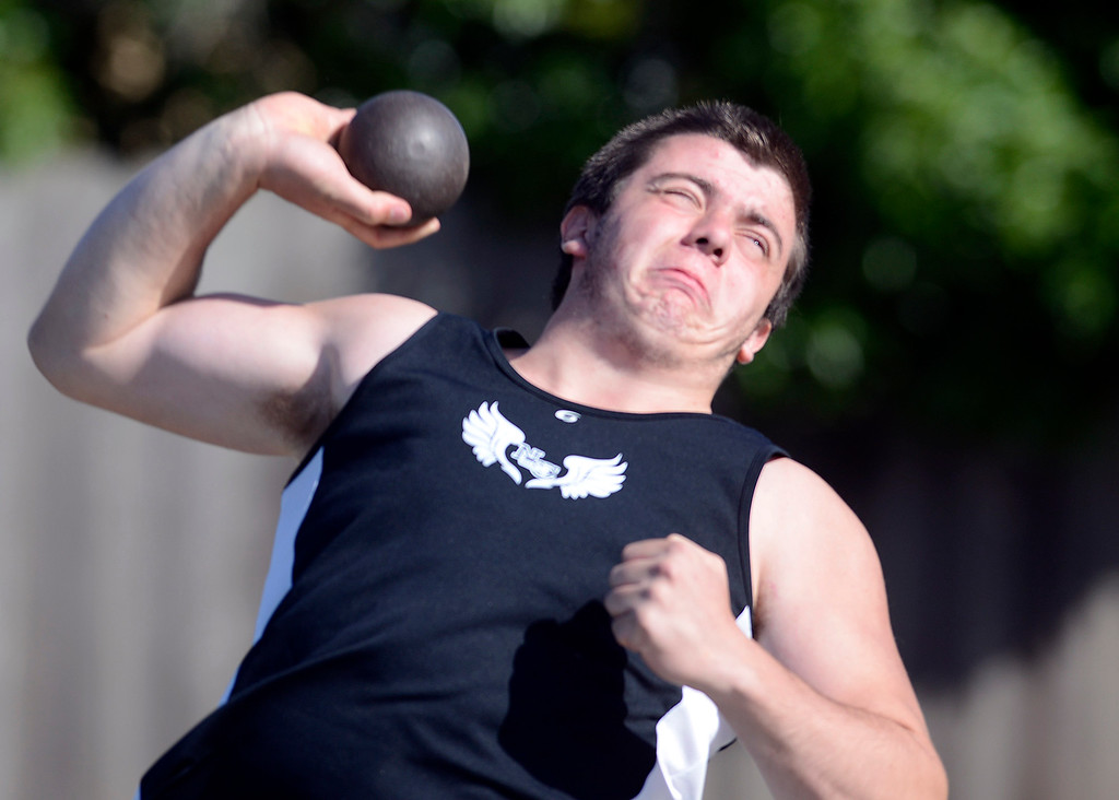 . North Monterey County\'s Guy Gida competes in the shot put during a track meet at Palma High School in Salinas on Thursday April 13, 2017. (David Royal - Monterey Herald)