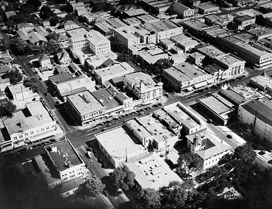 Aerial view of downtown Palo Alto, 1920's