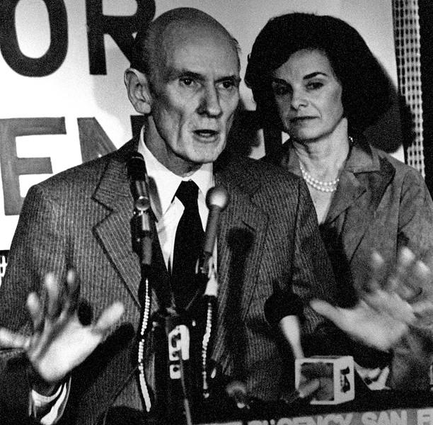 Senator Cranston announces his run for re-election. Diane Feinstein in background. - 1980