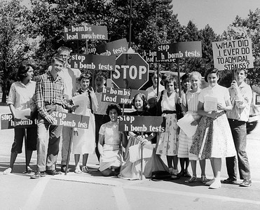 students protest H-bomb tests; Joan Baez stands at far left. 1950's