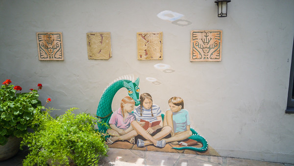 Mural art on the outside of an old children's bookstore in downtown Palo Alto