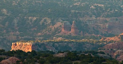 Lighthouse, Palo Duro Canyon, sunrise from the visitors center parking lot.