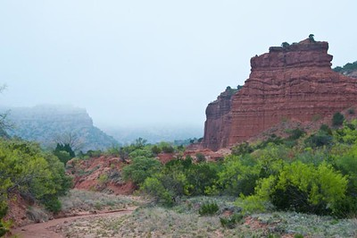 Caprock Canyon, Quitaque, Texas, sunrise in fog