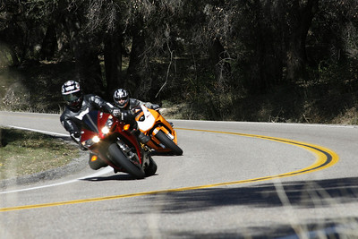 A KTM RC8 chases a Yamaha R1 Motorcycle up and down Palomar Mountain on South Grade Road.