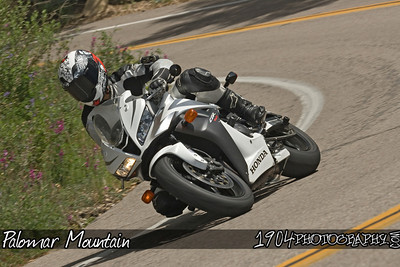 A motorcycle rider on a Honda CBR riding Palomar Mountain on May 3, 2009.