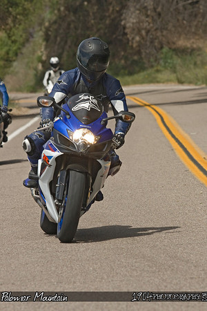 MA motorcycle rider on a Suzuki GSX-R riding Palomar Mountain on May 3, 2009.