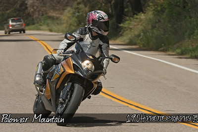 A motorcycle rider on her Suzuki GSX-R riding Palomar Mountain on May 3, 2009.