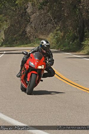 A motorcycle rider on a Honda CBR riding Palomar Mountain on May 3, 2009.