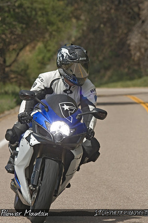 A motorcycle rider on a Suzuki GSX-R riding Palomar Mountain on May 3, 2009.