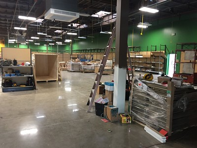 January 19th 2017, team is in the store doing set up with shelving and stocks.