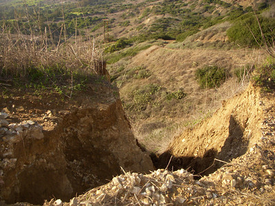 Trail erosion on the Burma rd on the hill up to the Barn Owl look out.