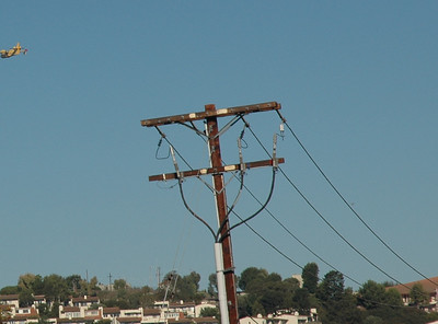 Only just before I left the house we had a short power cut that was enough to shut down my computer. This electrical pole on Indian Peak was the likely cause of the fires start. Sparks from perhaps a blown fusible link?