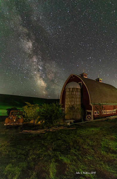 "Barn and ""Owl Truck"" Under the Milky Way"