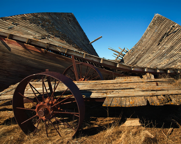 Old barn and cart near Waterville, WA