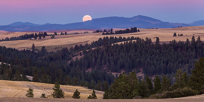 Harvest Moon at Sunset