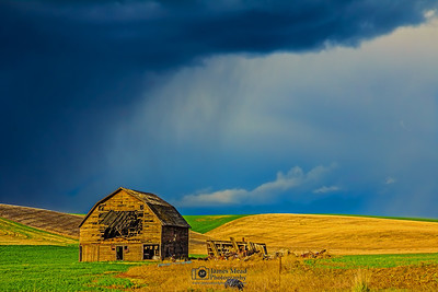 """Dark Curtain,"" the Abandoned Barn Squall Line, Palouse, Washington"