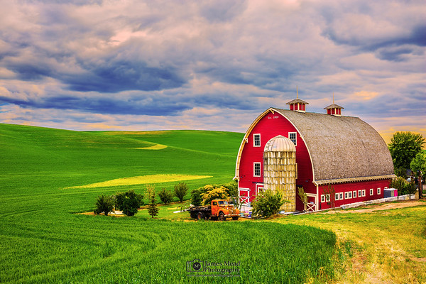 """Past Restored,"" Stormy Skies over the Heidenreich Dairy Barn, the Palouse, Washington"