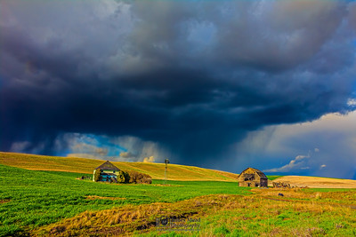 """Vengeance,"" Squall Line over Abandoned Farm, the Palouse, Washington"