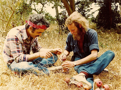 Dennis & Davy trying to light a pipe in GG park