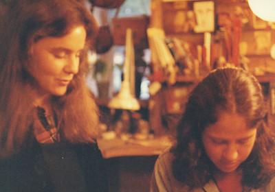 Barbara and Deena at 1010 Cook Street sandal shoppe, 1976