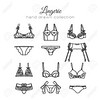 Lingerie set. Vector underwear design. Outline hand drawn illustration. Bras and panties doodle.