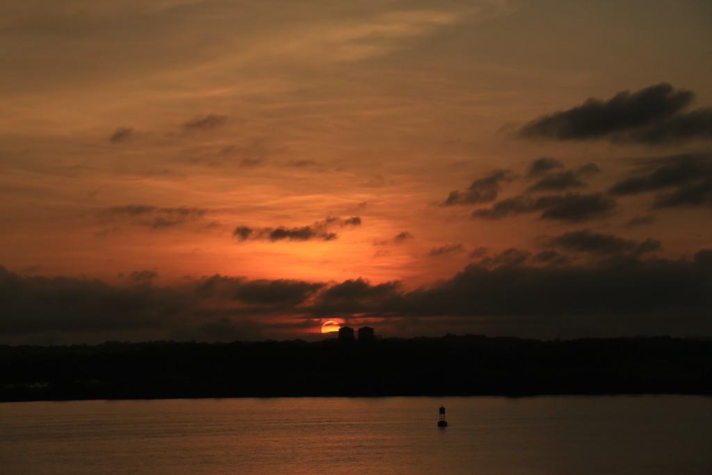 Sunrise coming into Panama Canal