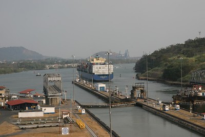 Miraflores Locks, Panama Canal.  Pacific side