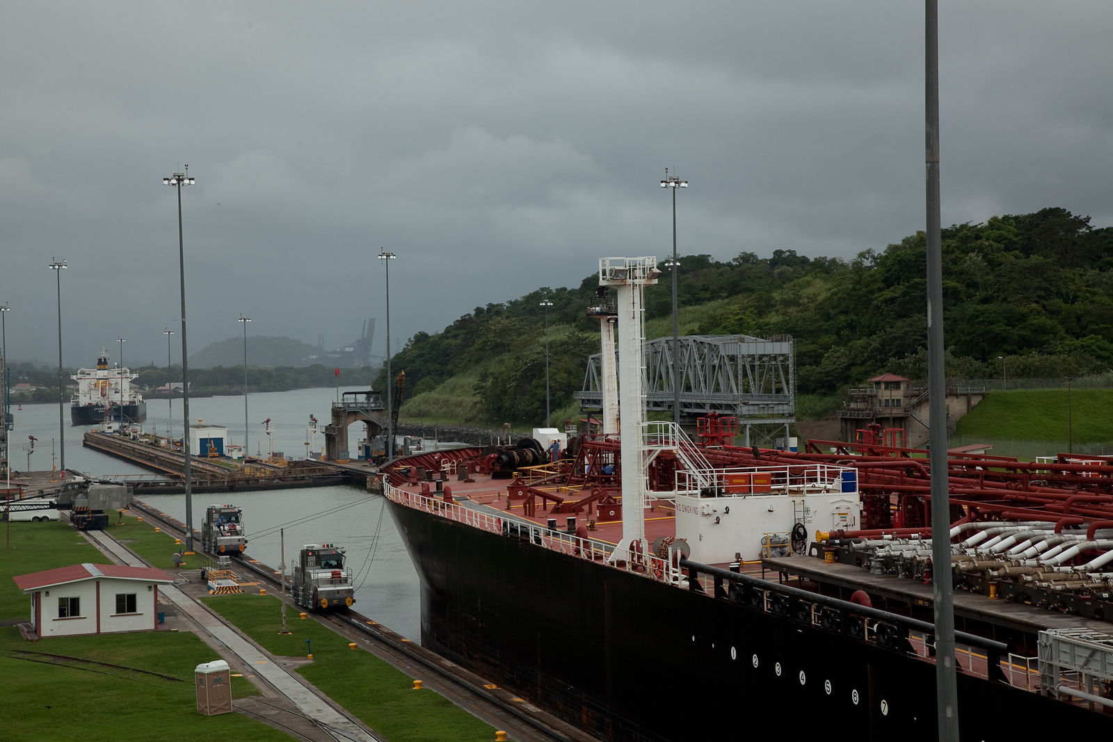 Ships leaving Miraflores Locks and on into Pacific Ocean
