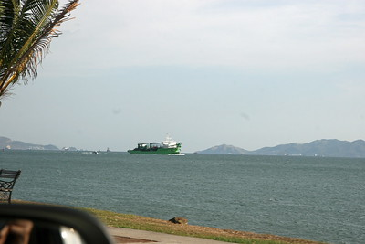 view from panama causeway - entrance to canal