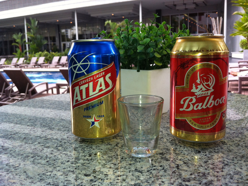 Panamanian beers....atlas tastes like bud lite, balboa is a lot better at 4.8 , tastes good when you are thirsty and it is cold. The shot glass was a remnant of the local 7 year old Abuelo rum shot obviously consumed.