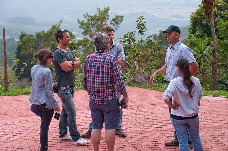 Daniel Peterson explaining La Esmeralda's quality control to me, Laurie and a group of Australian coffee buyers.