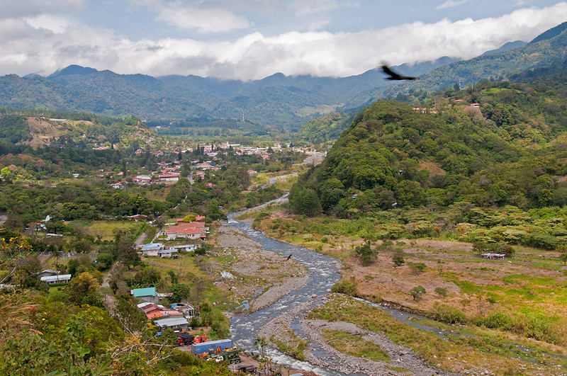 The view from Cafe Kotowa: the village of Boquete is below.  Clouds from the Atlantic peak over the mountains to the north.  We drove through the village and then up into the mountains to Finca Lerida.