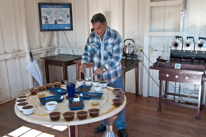 The Lerida cupping room.  Andres Lopez manages the farm.  Here he is setting up a cupping that he and I will do.