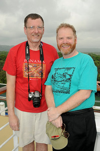 Galen and Geoff on the Sun Deck as the Island Princess at the first set of locks in the Panama Canal