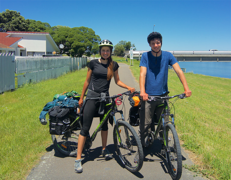 Cycling from Auckland to Queenstown, about to arrive Wellington City. <br /> <br /> They purchased their bikes on their arrival in New Zealand and will sell them before they depart - good thinking.
