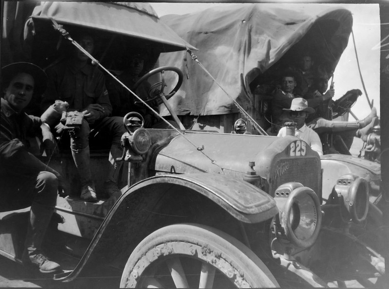 Soldiers in a 1907-1909 White military vehicle.
