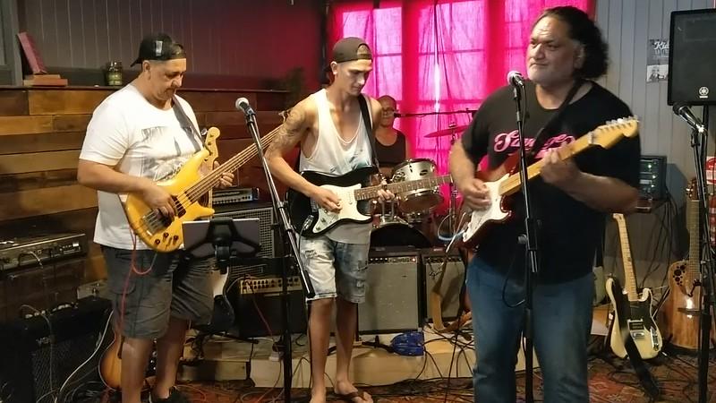 Jam at the Kirwick<br> Donny Te Hemera<br> Paki, bass<br> Phillip, lead guitar<br> Vaughan, drums