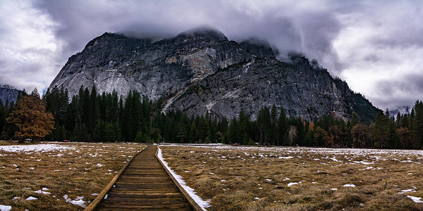 STORM CLOUDS OVER CURRY VILLAGE - YOSEMITE