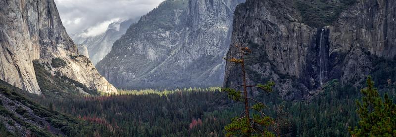 Yosemite Valley panoramic taken from Tunnel View-Yosemite National Park, California