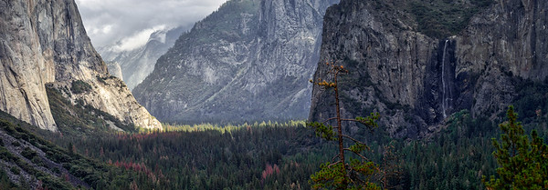 Yosemite Valley panoramic taken from Tunnel View-Yosemite National Park, California