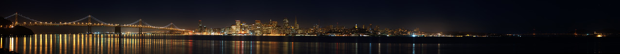 View full resolution: http://www.gigapan.com/gigapans/136541 San Francisco Bay at Night - 16 photos  The San Francisco Bay shot from Treasure Island  Left to right Bay Bridge - SF - Golden Gate Bridge - Alcatraz Island - Tiburon lights