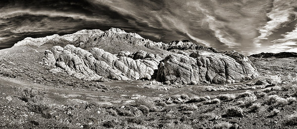 Buffington Pockets, Muddy Mountains, Clark County, Nevada.  Based on a 6x16 gigapan HDR image with a Deep IR modified Nikon P7700 camera.