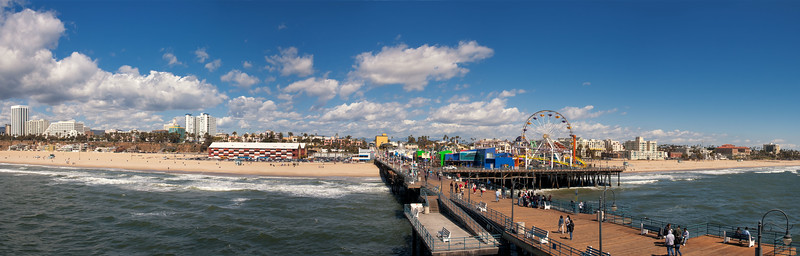 Santa Monica Pier and Ocean Ave. buildings from Wilshire to Pico. 2006